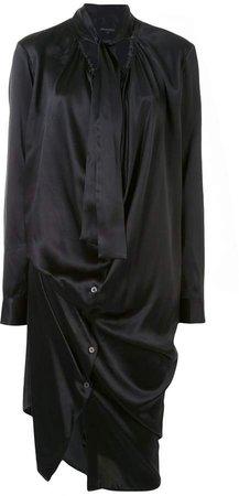 Draped Tie-Neck Shirt Dress