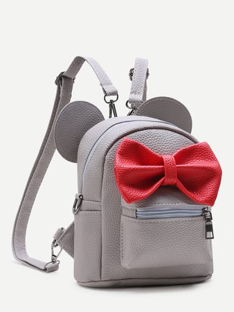 Grey Ear Shaped PU Backpack With Contrast Bow | ROMWE