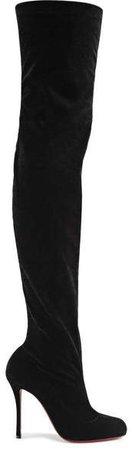 Classe 100 Stretch-velvet Over-the-knee Boots - Black