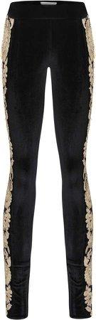 Raisa Vanessa Embroidered Skinny Velvet Pants