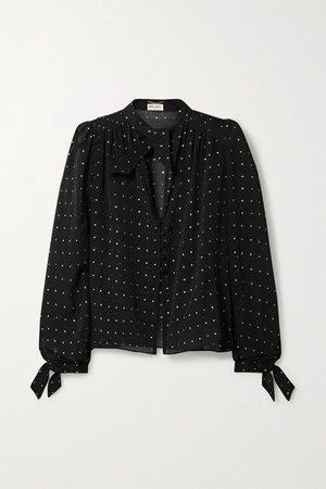 Black Metallic fil coupé silk-blend chiffon blouse | SAINT LAURENT | NET-A-PORTER