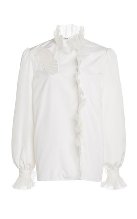 Alessandra Rich Silk Blouse With Ruffles