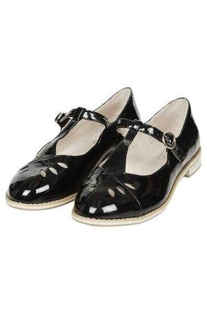 GWENNY T-Bar Geek Shoes Black