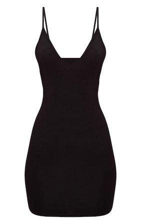 Basic Black Extreme Plunge Strappy Bodycon Dress | PrettyLittleThing