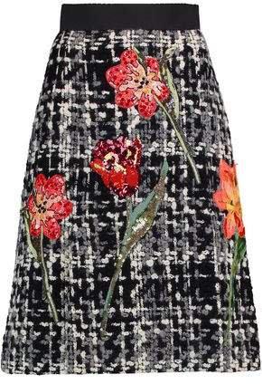 Appliqued Wool-blend Boucle-tweed Skirt