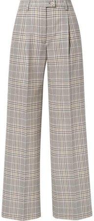 Pina Checked Cotton-blend Wide-leg Pants - Gray