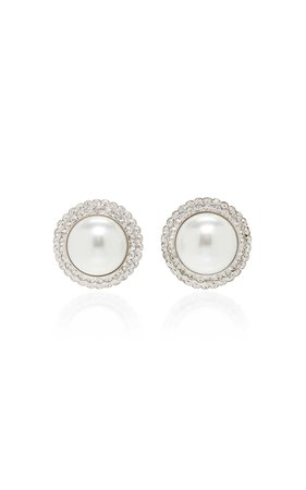 ALESSANDRA RICH Pearl And Crystal Stud Earrings