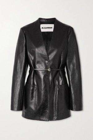 Nessa Belted Leather Blazer - Black
