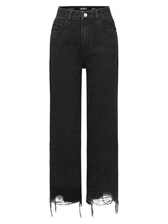 DL1961 Premium Denim Hepburn Distressed Wide-Leg Jeans   SaksFifthAvenue