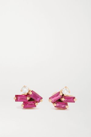 Rose gold 18-karat rose gold, ruby and diamond earrings | Suzanne Kalan | NET-A-PORTER