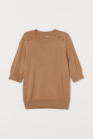 Fine-knit Top - Beige