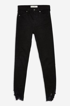 Black Ripped Hem Jamie Jeans - Topshop USA