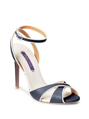 Shop blue & neutral Ralph Lauren Collection cut-out detail sandals with Express Delivery - Farfetch