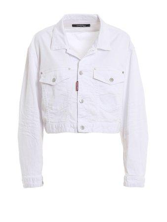 Dsquared2 Dsquared2 White Cotton Denim Cropped Jacket - White - 10927275   italist