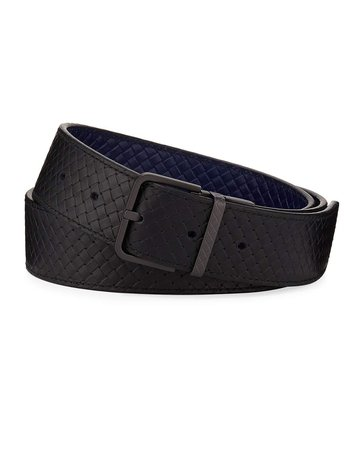 Bottega Veneta Micro-Woven Leather Belt