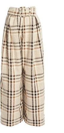 Rosie Assoulin High-Rise Plaid Wool-Blend Pants