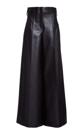 Peter Do High-Rise Pleated Faux-Leather Pants