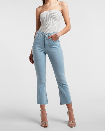 High Waisted Light Wash Raw Hem Cropped Flare Jeans