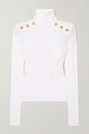 White Button-embellished ribbed-knit turtleneck sweater | Balmain | NET-A-PORTER