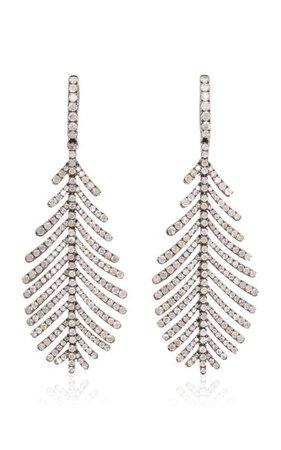 Plume 18k White Gold Diamond Earrings By Sidney Garber | Moda Operandi