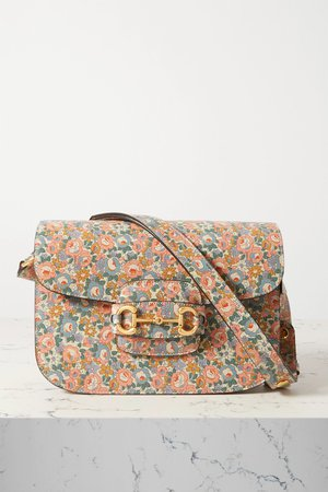 Pink 1955 Horsebit small floral-print textured-leather shoulder bag | Gucci | NET-A-PORTER