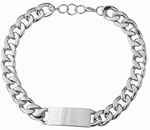 Amazon.com: Qiji Women's Alloy Celebrated Choker ID Bracelet Heavy Cuban Chunky Chain Bracelet Shiny Metal Statement Jewelry (Gold Color Bracelet): Jewelry
