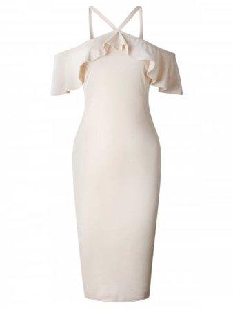 Open Shoulder Flounce Bodycon Dress