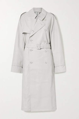 Oversized Leather Trench Coat - Light gray