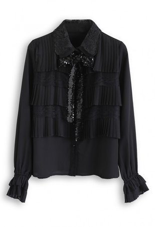 Sequined Bowknot Lace Pleated Chiffon Top in Black - NEW ARRIVALS - Retro, Indie and Unique Fashion