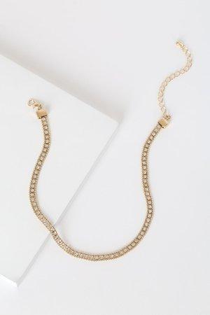 Gold Choker Necklace - Rhinestone Choker Necklace - Trendy Choker