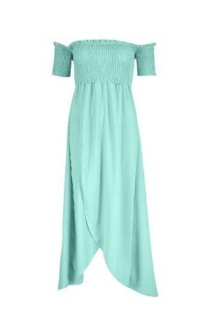 Shirred Off The Shoulder Maxi Dress | boohoo green