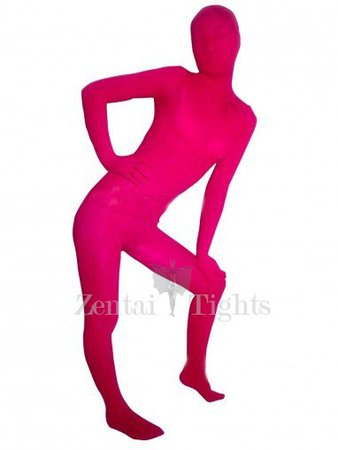 Pink Red Transparent Velvet Unisex Morph Suit Zentai Suit Zentai Suits, Tights - ZentaiTights.com