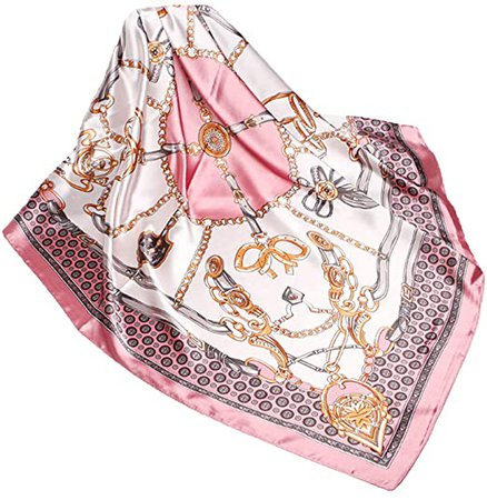 Wander Agio Silk Feeling Scarf Womens Fashion Printing Scarves Square Satin Face Headscarf Pattern Chain Pink 19 at Amazon Women's Clothing store