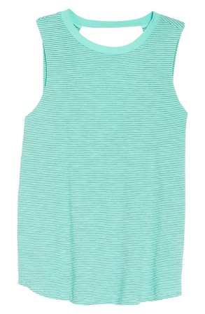 Zella Stripe Open Back Tank Top | Nordstrom