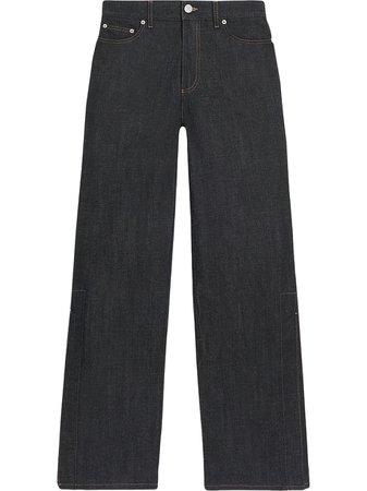 Shop blue FENTY slit-detail wide leg jeans with Express Delivery - Farfetch