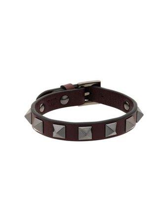 Valentino Garavani Burgundy Rockstud Bracelet - FARFETCH