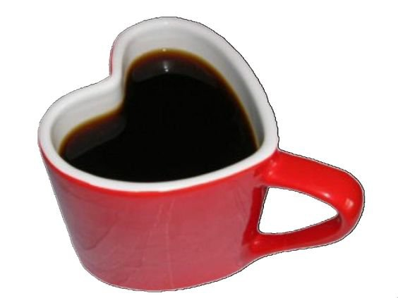 Red heart coffee cup