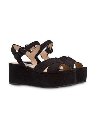Prada Crossover Platform Sandals | Farfetch.com