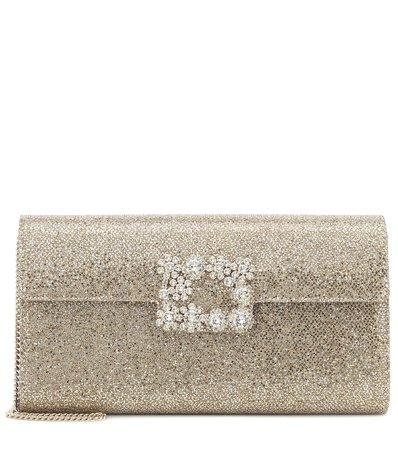 Roger Vivier - Flower Strass Envelope glitter clutch   Mytheresa