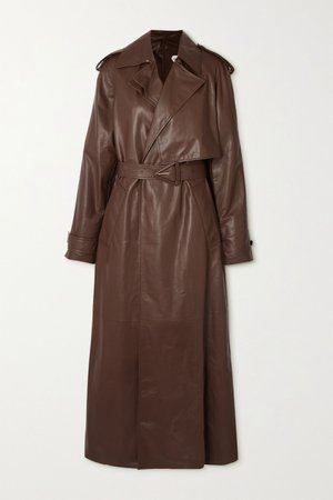 Brown Belted leather trench coat | Bottega Veneta | NET-A-PORTER