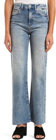 Victoria High Waist Raw Hem Flare Jeans