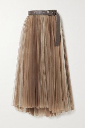 Belted Pleated Tulle Midi Skirt - Taupe