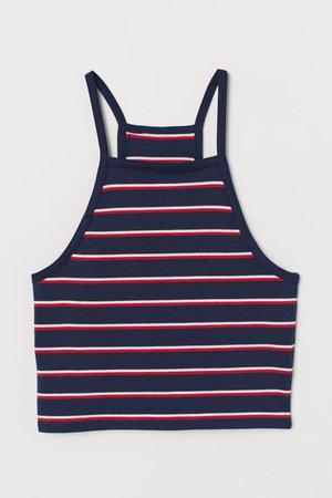 Short Camisole Top - Dark blue/red striped - | H&M US