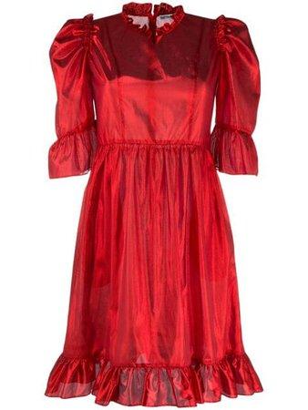Shop red Batsheva ruffle-trimmed lamé mini prairie dress with Express Delivery - Farfetch