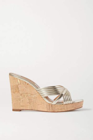 Sundance 120 Metallic Faux Leather Wedge Sandals