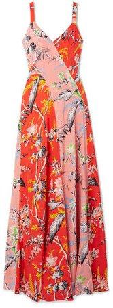 Paneled Floral-print Silk Crepe De Chine Maxi Dress - Red