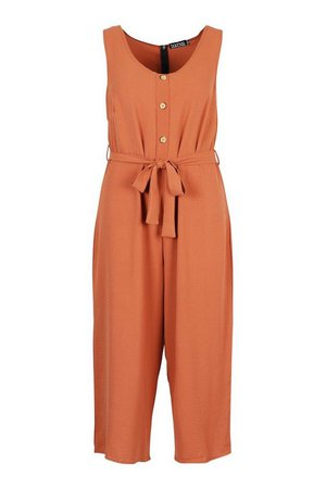 Plus Linen Look Button Belt Jumpsuit | boohoo
