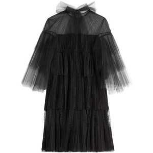 Tiered Tulle Dress with Point d'esprit
