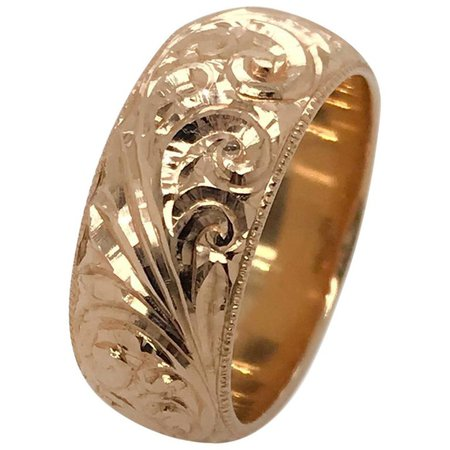 14 Karat Rose Gold Hand Engraved Russian Band Ring For Sale at 1stdibs