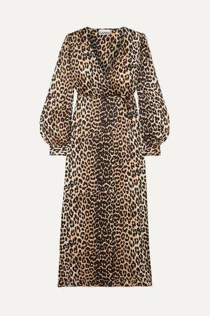 Leopard-print Silk-blend Satin Wrap Dress - Leopard print